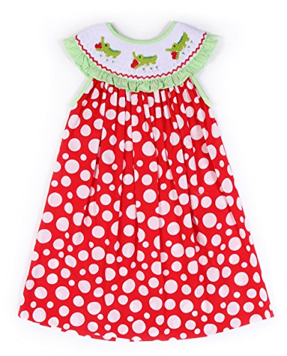 Babeeni Red Smocked Dresses for Girls with Cute Crocodile Hand-Smocked Patterns (4Y)