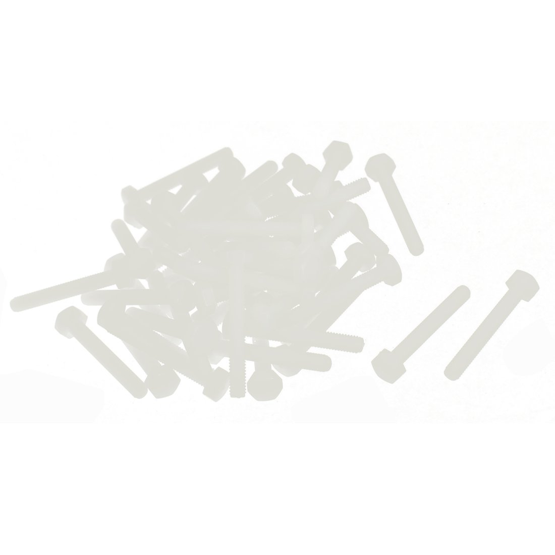 SOURCING MAP M4 x 30mm Fil Plein 0.7mm Pas Nylon Hex T/ête Capuchon Vis Boulon 50 Pcs