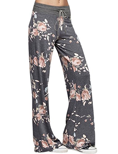 Assivia Womens Wide Leg High Waist Yoga Palazzo Pants Casual Printed Drawstring Trousers (L, Deep Grey)