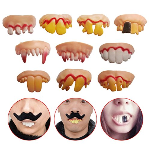 Odowalker 10 Pcs Different Style Fake Teeth Toy