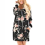 Landove Womens Hooded Long Sleeve Floral Print t Shirt Dress Ladies Casual Pullover Sweatshirt With Pockets