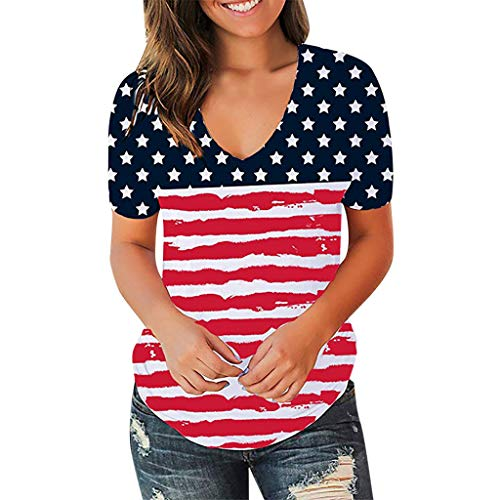 Holzkary Fourth of July T Shirt Patriotic T-Shirt Casual V Neck Print Independence Day Tee(XL(14).Red