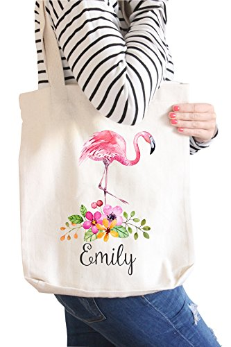 Flower Girl Gift | Personalized Canvas Tote | Pink Flamingo | Monogrammed (Metallic Gold -