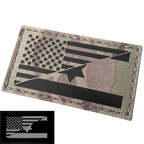 Multicam Infrared IR USA Israel Friendship Flag 2x3.5 IFF Tactical Morale Fastener Patch -