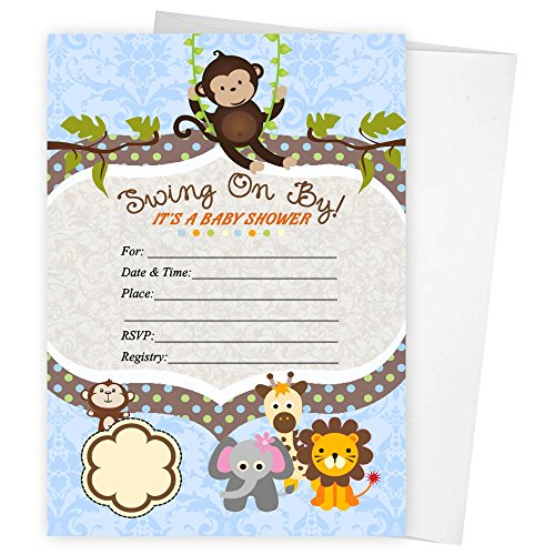 Swinging Safari Monkey Zoo Baby Shower Birthday Party Invitations