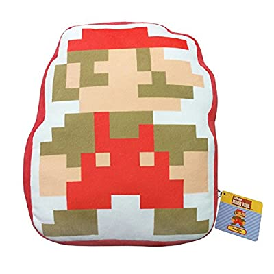 "Little Buddy Super Mario Bros. 8-Bit Mario 14"" Stuffed Plush Pillow Cushion: Toys & Games"