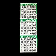 SmallToys 3 on Green Bingo Paper Game Cards - 1000 Sheets - 4 Inch by 12 Inch Size Disposable Sheet - Made in