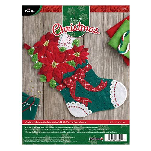 (Bucilla Felt Applique Stocking Kit (18-Inch), 86705 Christmas Poinsettia)