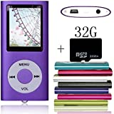 Tomameri Purple Portable MP4 Player MP3 Player Video Player with Photo Viewer , E-Book Reader , Voice Recorder with 32 GB Micro SD Card