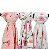 Bamboo Muslin Baby Blanket - 3 Pack 47x47inches Floral & Flamingo Print Baby Blanket Girls, Large Soft Baby Swaddle Blanket Baby Wrap Muslin Cloths, Perfect Baby Shower Gifts(Flamingo & Floral)