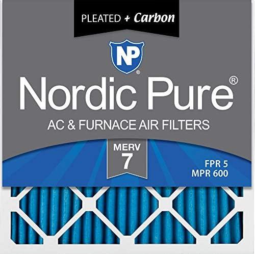 Nordic Pure MERV 7 Plus Carbon AC Ofen-Luftfilter, 16 x 16 x 1, 6 Stück