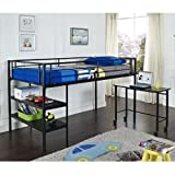 Twin Loft Bed with Desk and Shelves Black by Walker Edison