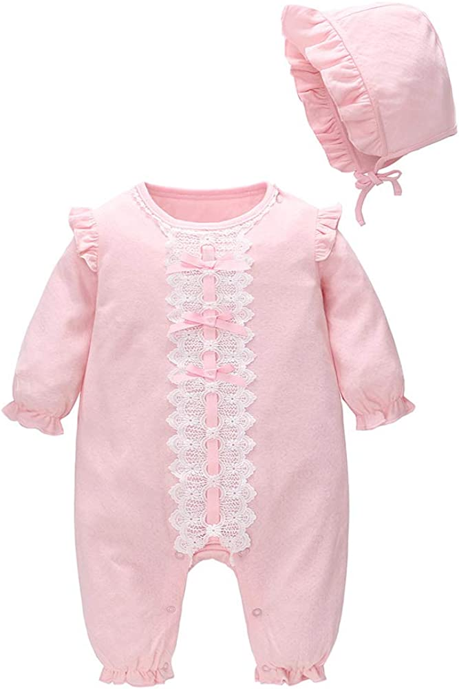 FCQNY Newborn Babies Long Sleeve Romper Pink Knit Cotton Romper Matching Lacing Hat