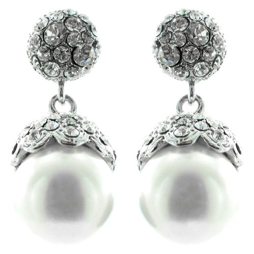 White and Clear Crystal on Silver Plated Precious Diamante Pearl Earrings (Disney Pearl Earrings)