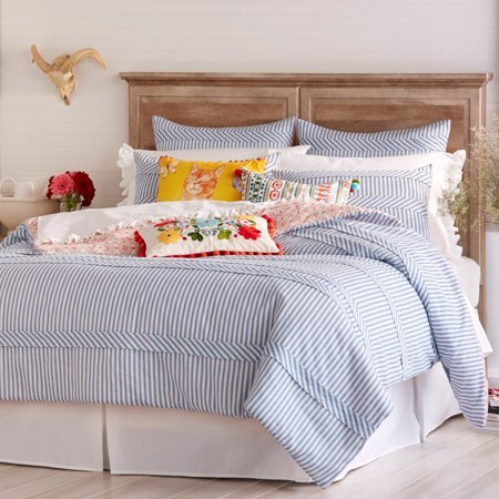 ThePioneerWoman Ticking Stripe Comforter, Blue (King)