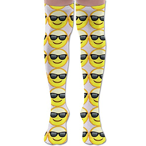 Emoji - Cool Sunglasses Knee High Casual Long Socks 60 Cm Both For Men And - Puts Emoticon Sunglasses On
