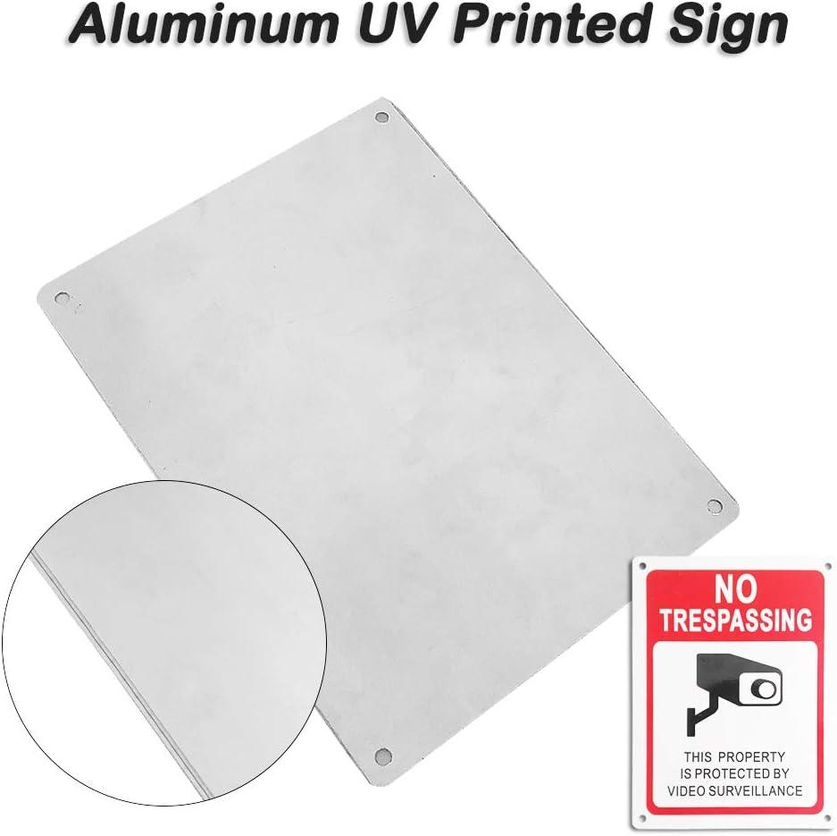 Letrero de Aluminio con impresi/ón UV Paquete de 2, 6 x 8 Letrero de Metal de vigilancia Las 24 Horas SourceTon No Rust y Pegatinas de Vinilo Paquete de 10, 6,2 x 4