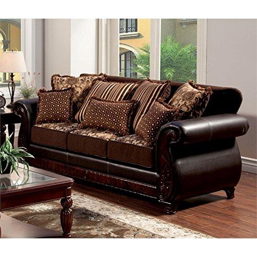Furniture of America Lozano Sofa in Dark Brown
