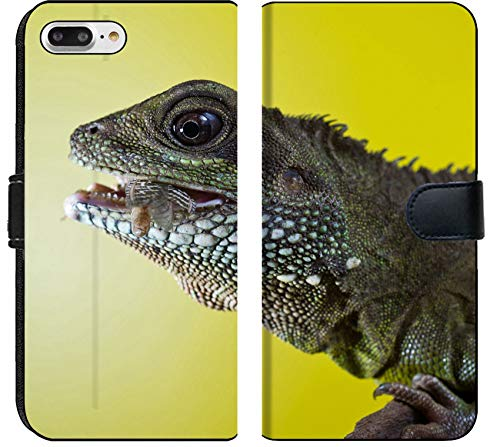 Liili Premium iPhone 8 Plus Flip Micro Fabric Wallet Case Close up Portrait of Beautiful Water Dragon Lizard Reptile Eating an Insect Photo 19504434