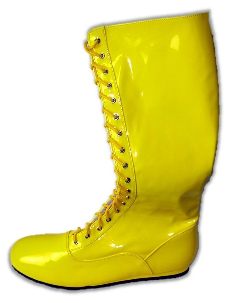 Pro Wrestling Costume Boots (Large, Yellow)