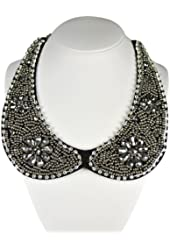 Beaded Peter Pan Collar Necklace with Flower Accents