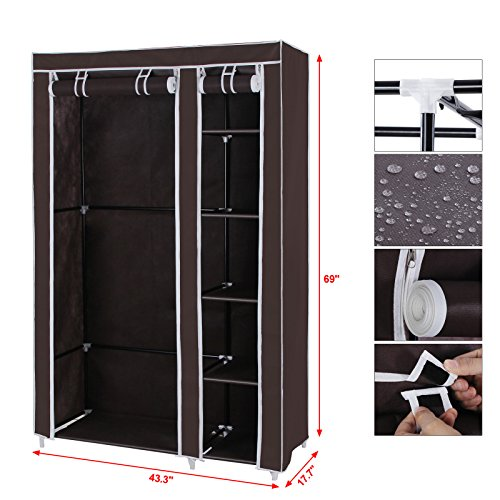 Songmics Clothes Closet Portable Wardrobe Storage Organizer With Shelves Dark Brown 43 Quot Ulsf007k