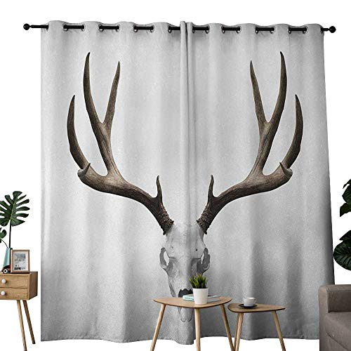 NUOMANAN Curtains 84 inch Length Antlers,A Deer Skull Skeleton Head Bone Halloween Weathered Hunter Collection,Warm Taupe Light Grey,Modern Farmhouse Country Curtains 120