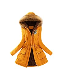 Womens Winter Jacket KIKOY Warm Faux Fur Fleece Lined Parka Outdoor Hooded Coat Khaki