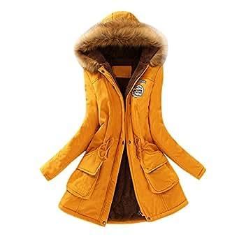 Beikoard Mujer Invierno Abrigo,Mujeres Cálidas Abrigo De Piel De Pelo Largo Collar con Capucha