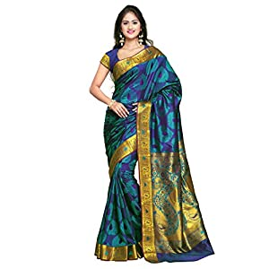 VARKALA SILK SAREES Women's Kanchipuram Silk Saree With unstitched Blouse Piece