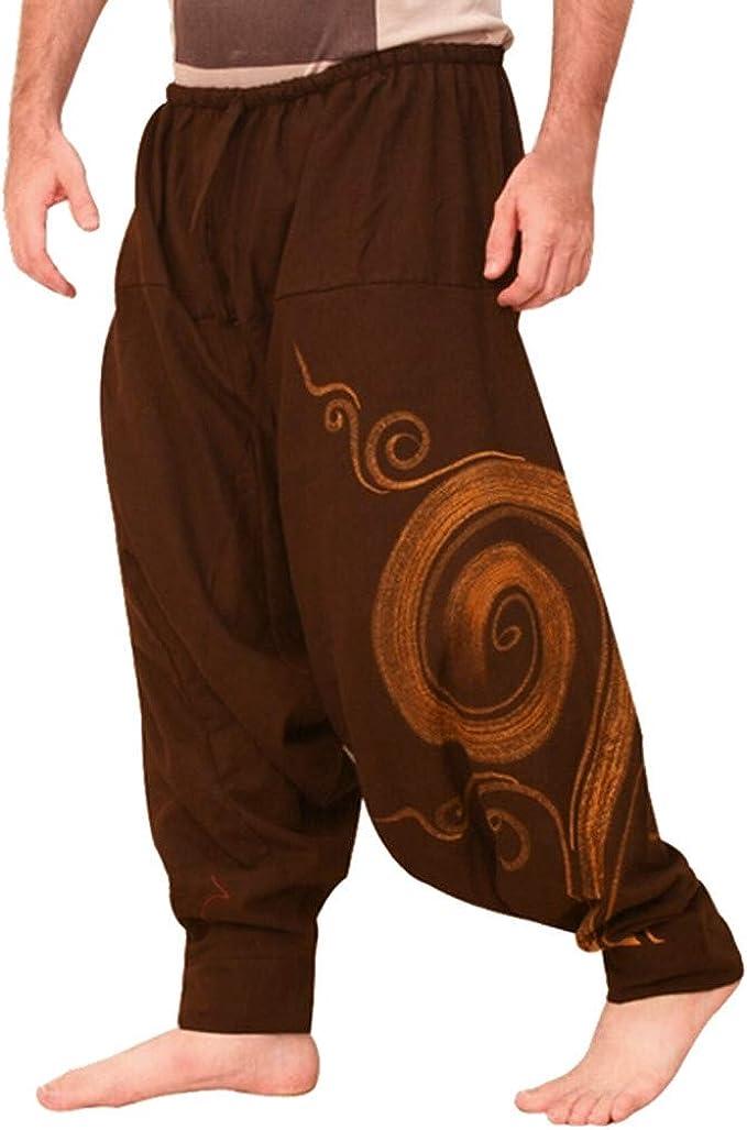 Mens Hippie Yoga Harem Pants Vintage Cotton Blends Linen ...