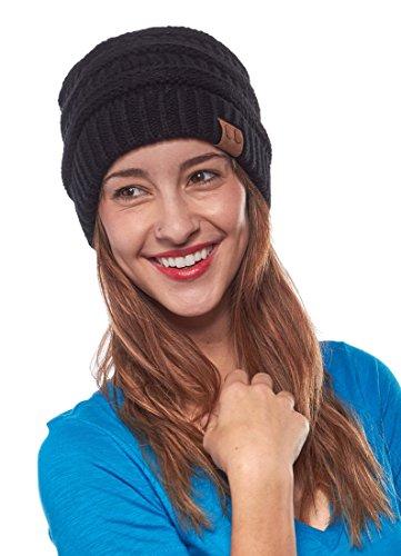 Unisex Trendy Warm Chunky Soft Stretch Cable Knit Slouchy Beanie Skully, Black, One Size