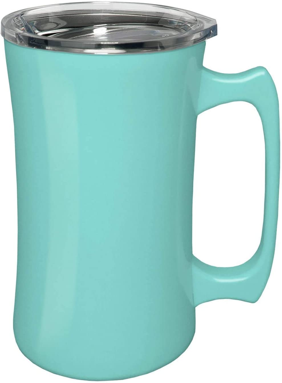 True North Stainless Steel Insulated Beer Mug Tumbler + Tankard with No-Spill BPA Free Triton Lid, Keeps Drinks Warm or Cold for 24 Hours, Perfect for IPA, Coffee, Tea or Wine, 20 oz, Beach Seafoam