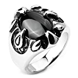 MoAndy Jewelry Mens Stainless Steel Rings Agate Silver Black Eagle Claw Oval Biker Size 8