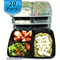 20-Pack 3-Compartment Meal Prep Containers Bento Boxes
