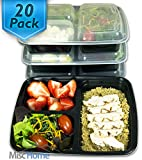 Amazon Price History for:[20 Pack] 3 Compartment Meal Prep Containers BPA Free Portion Control Bento Boxes (39 Oz.)