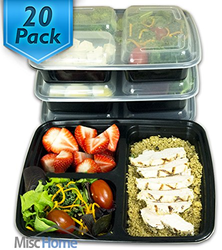 20 pack 3 compartment meal prep containers bpa free portion control bento boxes 39 oz in. Black Bedroom Furniture Sets. Home Design Ideas