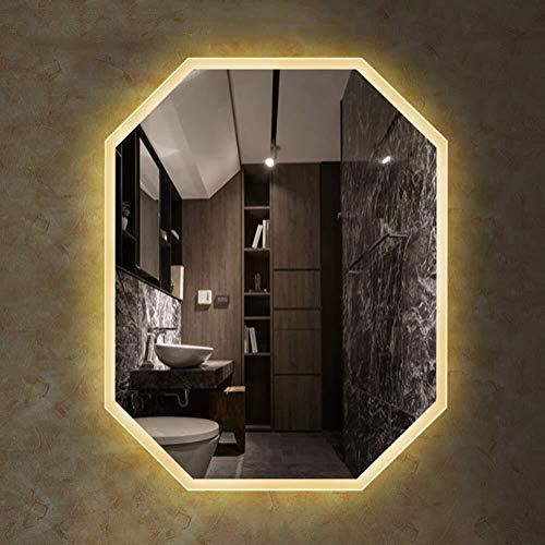 700x900mm Illuminated Led Octagonal Bathroom Mirror Frameless Easy to Install Hanging Vanity -