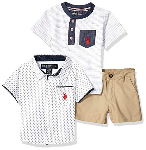 U.S. Polo Assn. Baby Boys 3 Piece Sleeve Sport Shirt, Henley, and Short Set, White/Navy Print, 18M