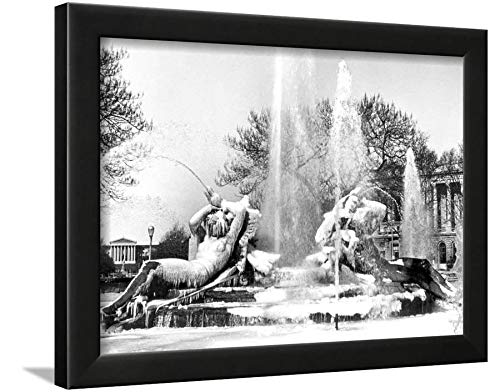 ArtEdge Logan Square, Frozen in Time, Philadelphia, Pennsylvania Black Framed Wall Art Print, 12x16 (Logan Square Print)