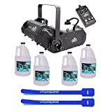 Chauvet Hurricane H1800 Flex DJ Fogger Fog Machine & Remote w/ 4 Gallon Fluid & Cable Ties