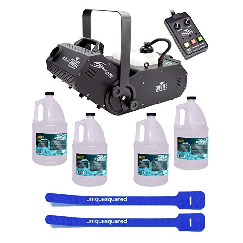 Chauvet Hurricane H1800 Flex DJ Fogger Fog Machine & Remote w/ 4 Gallon Fluid & Cable Ties by Chauvet