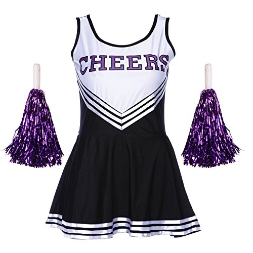 Jojobaby Women's Musical Uniform Fancy Dress Costume Complete Outfit (Medium, Black w/ 2purple pompoms)