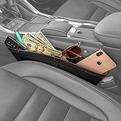 2 in 1 Car Seat Gap Organizer | Universal Fit | Storage Pockets Adjust | 2 Set Car Seat Crevice Storage Box | Helps Reduce Distracted Driving & Holds Phone Money Cards Keys Remote | Black Stitching: Automotive