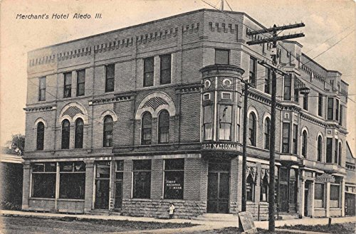 Postcard Merchants Hotel First National Bank In Aledo  Illinois 115965