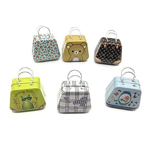 HUELE 6PCS Mini Small Iron Vintage Cartoon Tin Box Suitcase Handbag Small Rectangular Candy Box Tin Container Jewelry Coin Storage (Trinket Tin)