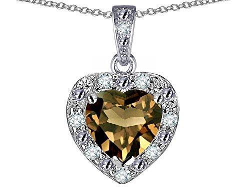 (Star K 14k White Gold Heart Shape Genuine Smoky Quartz Halo Pendant Necklace)