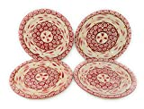 Temp-tations Set of 4 Hand Painted Stoneware Salad/Dessert Plate Choose Your Shape (Round Old World Cranberry)