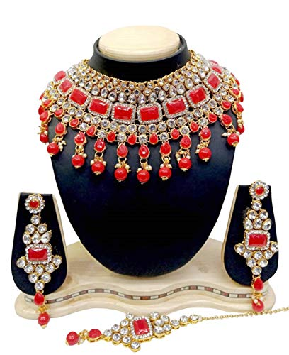 - CROWN JEWEL Indian Bridal Fashion Jewelry Wedding Gold Tone Necklace Earring Set (Red)