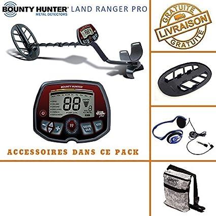 Bounty Hunter – Detector de Metales Land Ranger Pro con Protector de Disco, bolsa de